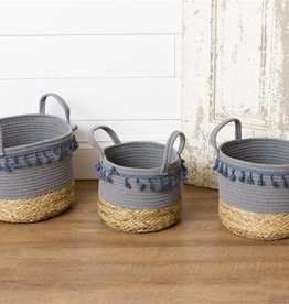 Blue Tassle Baskets