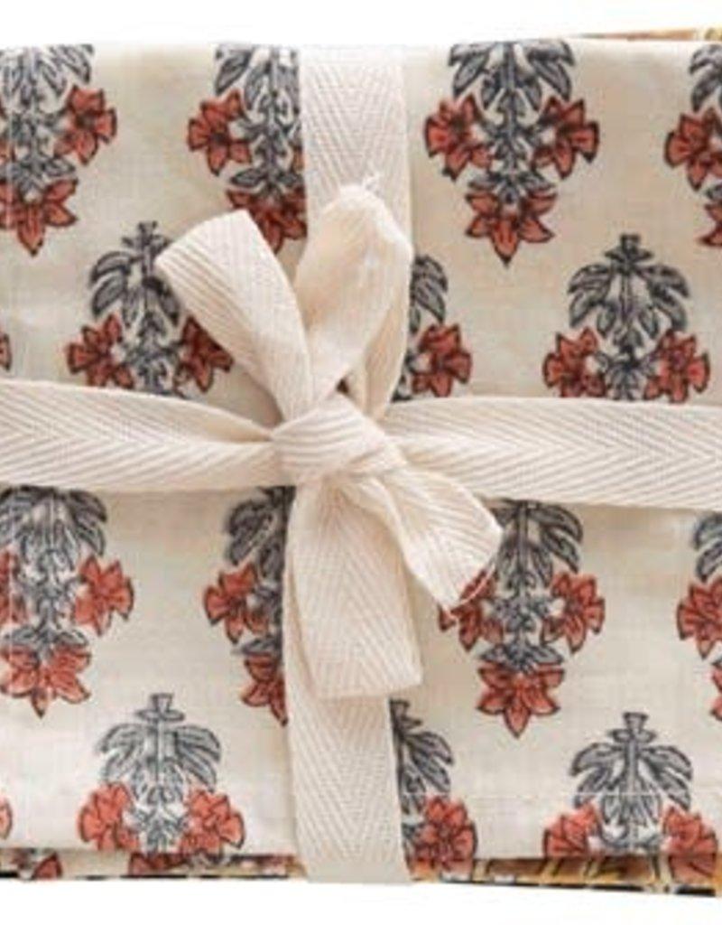 "10"" sq Cotton Floral Printed Napkins"