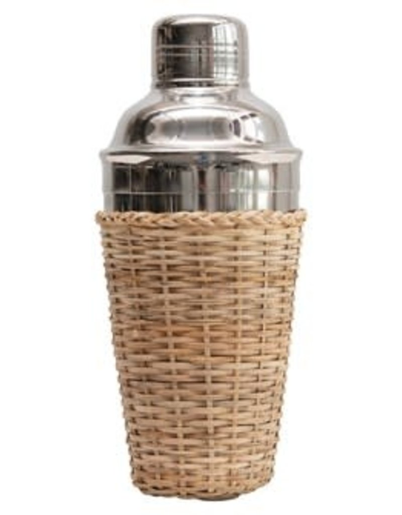 Stainless Steal Cocktail Shaker, w/Rattan Sleeve