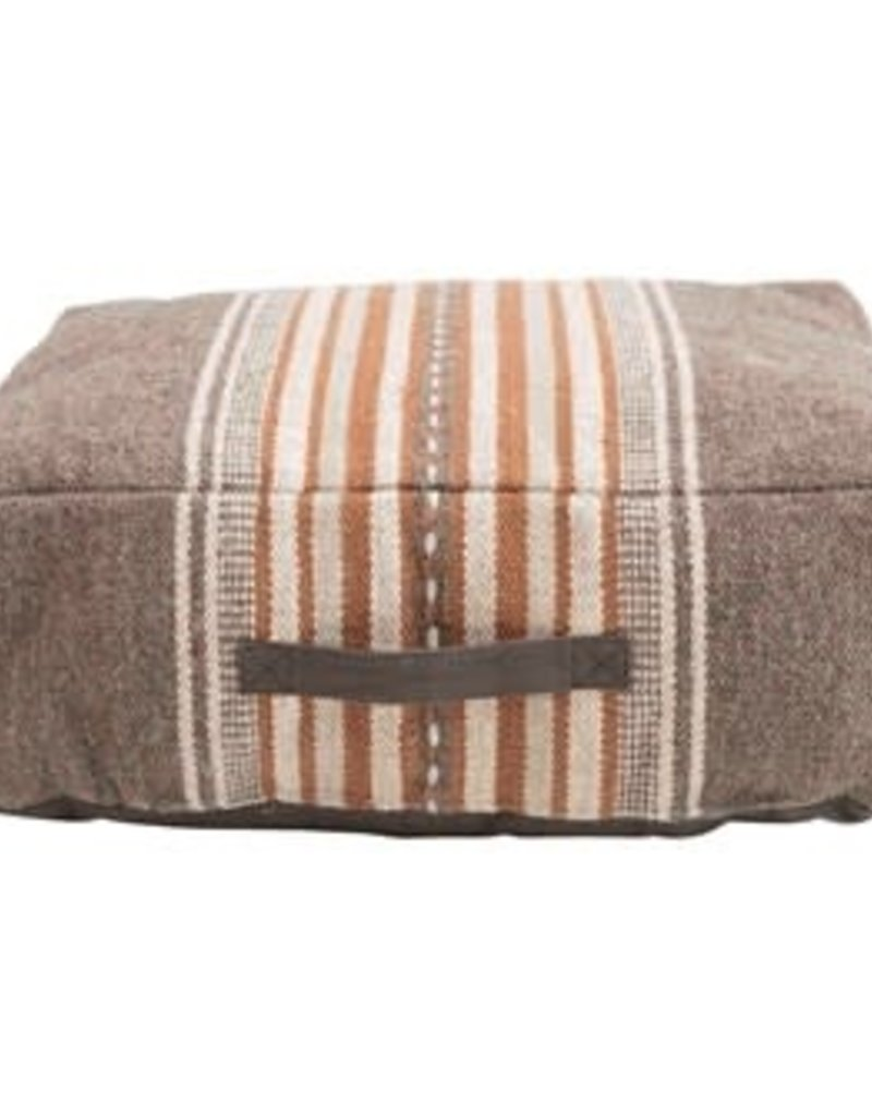 Woven Cotton Striped Pouf w/ Handle, Brown & Orange Color