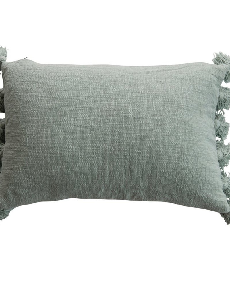 Cotton Slub Lumbar Pillow with Tassels, Aqua