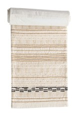 Cotton Embroidered Table Runner w/ Gold Metallic Stitching