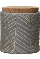 Stoneware Canister with Cork Lid, Blue