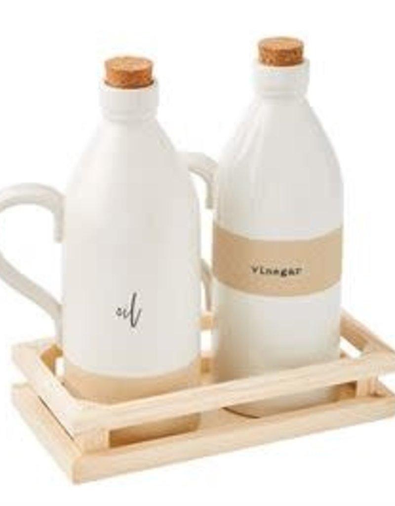 Stoneware Oil and Vinegar Set