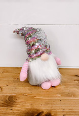 """6"""" Standing Sequin Hat Pink Gnome"""