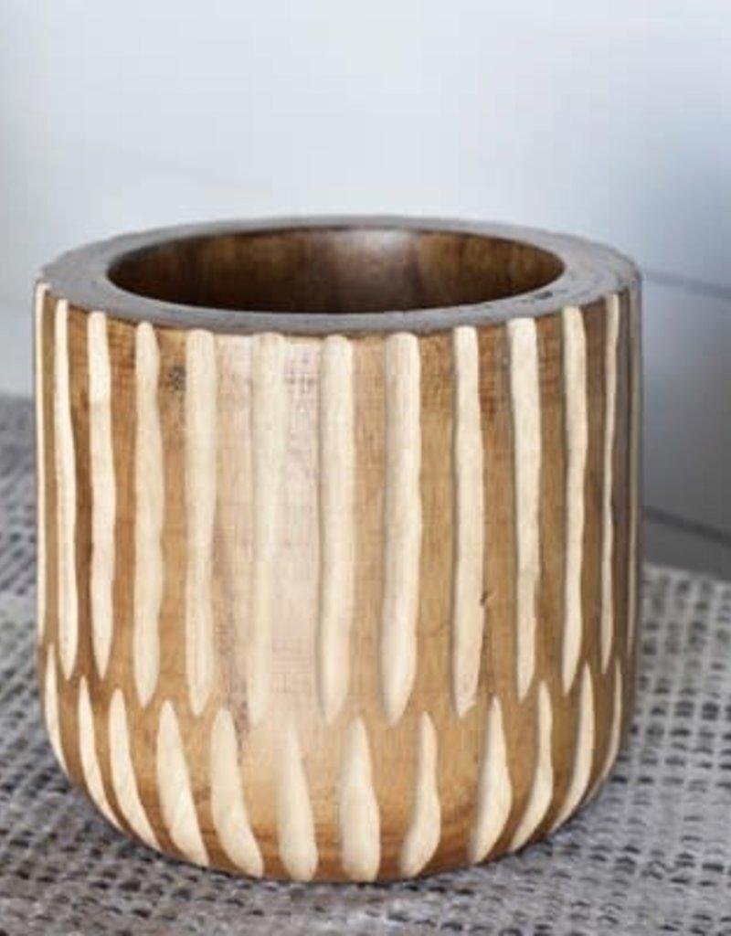 "7"" Carved Stripe Planter"