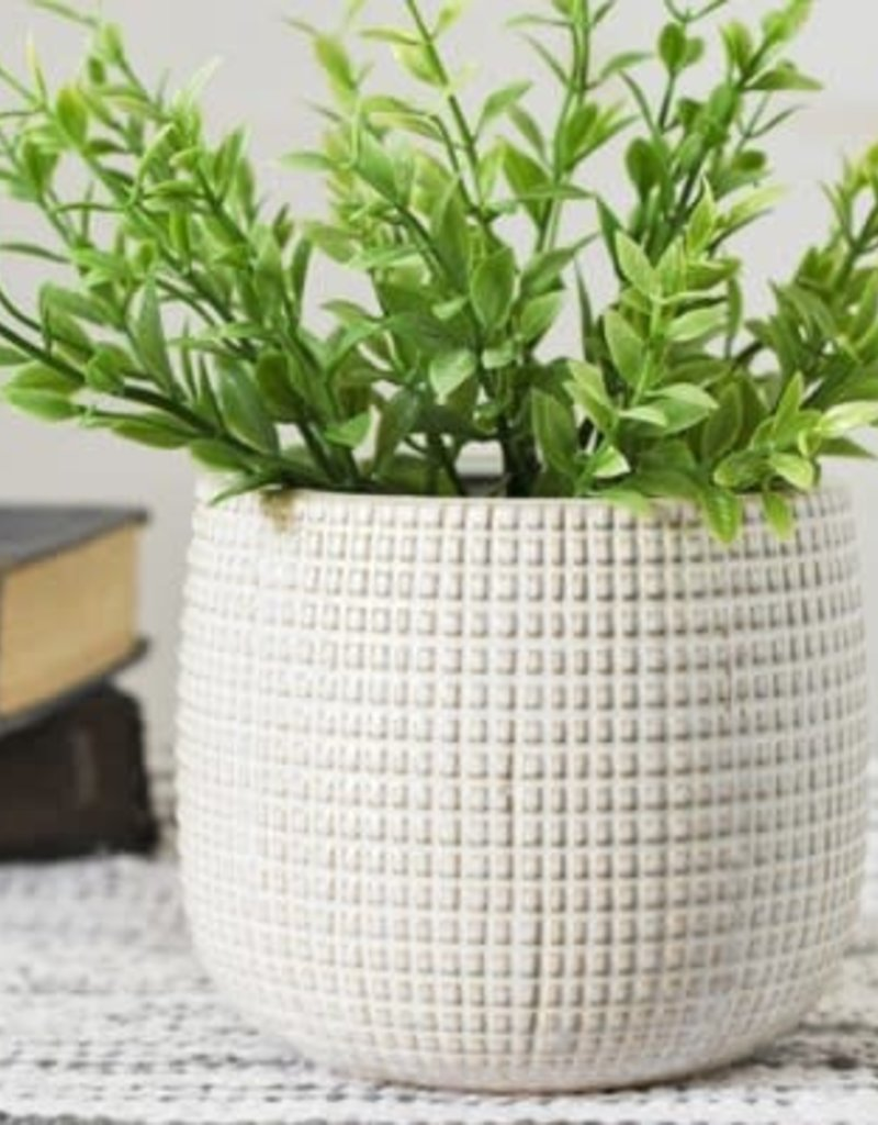"4.75"" White Textured Planter"