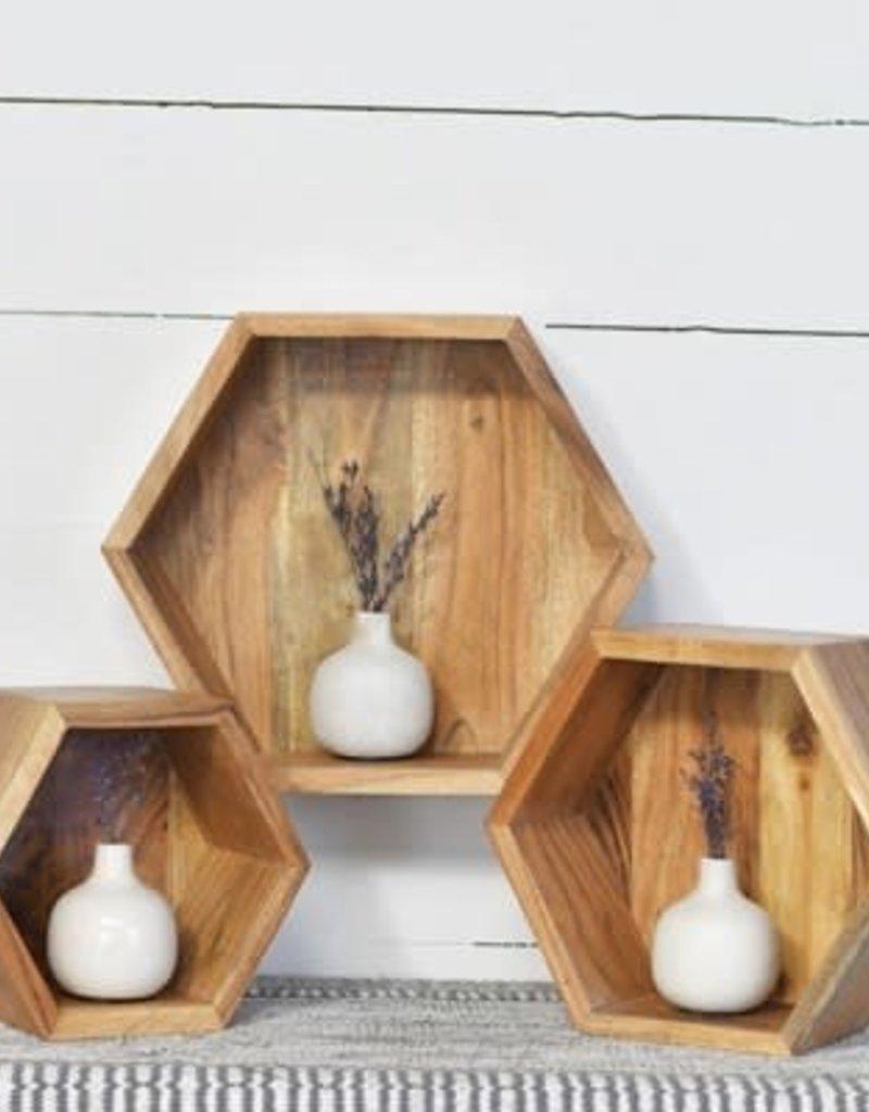 S/3 Acacia Wood Shelves