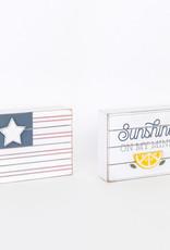 "Flag/Sun Reversible Wood Sign, 5x3.75"""