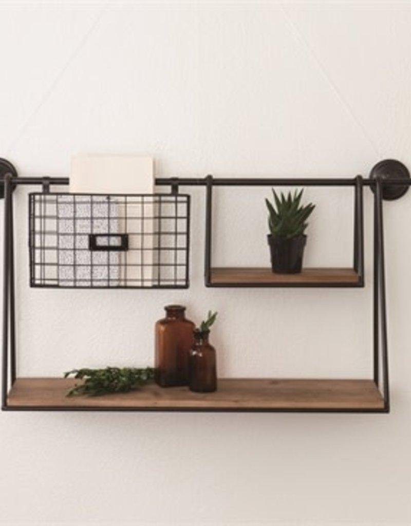Metal Wood shelf w/basket
