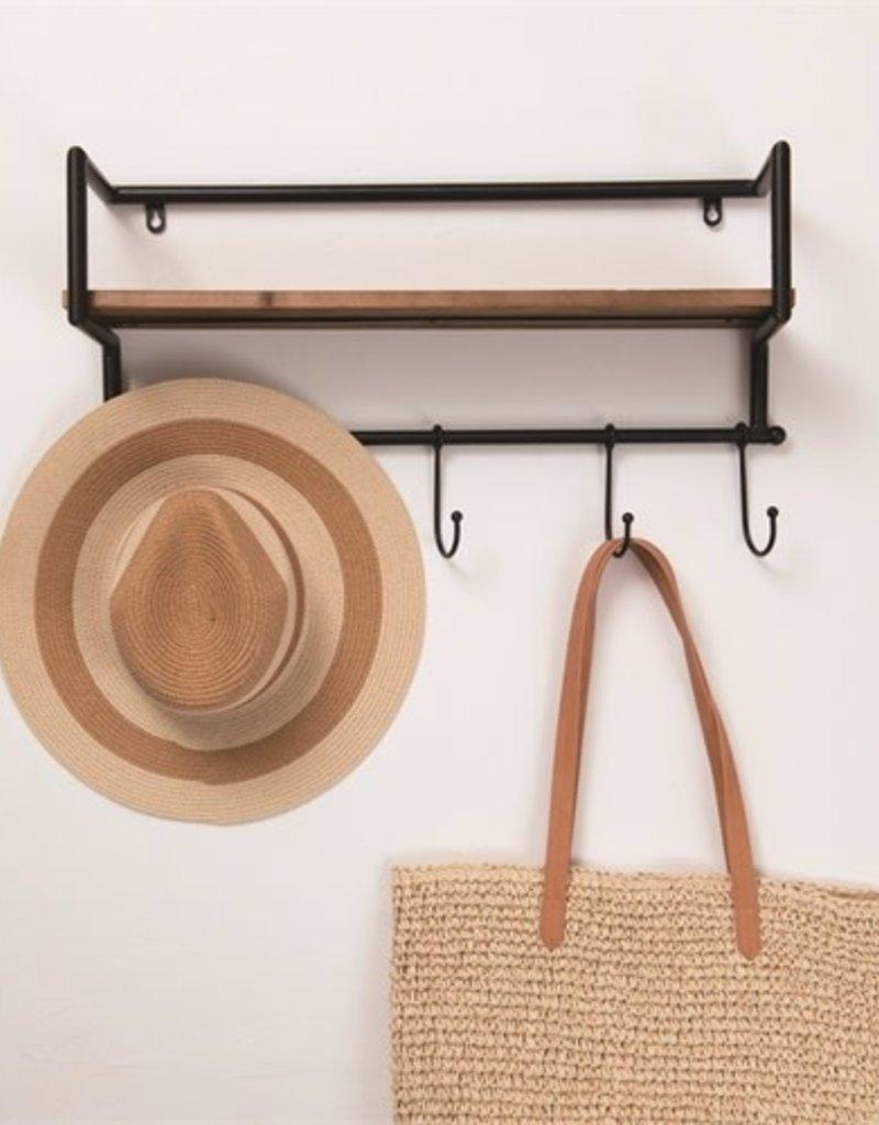 Metal/Wood shelf w/hooks