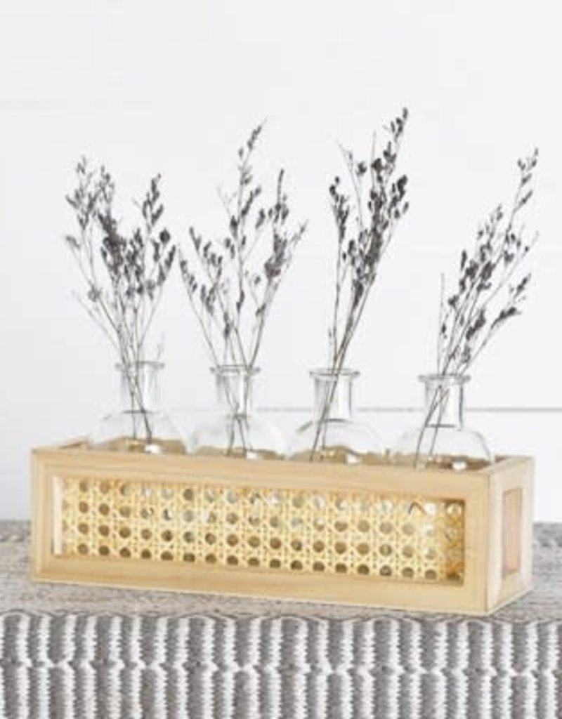 4 Glass Bottles on Bamboo Tray