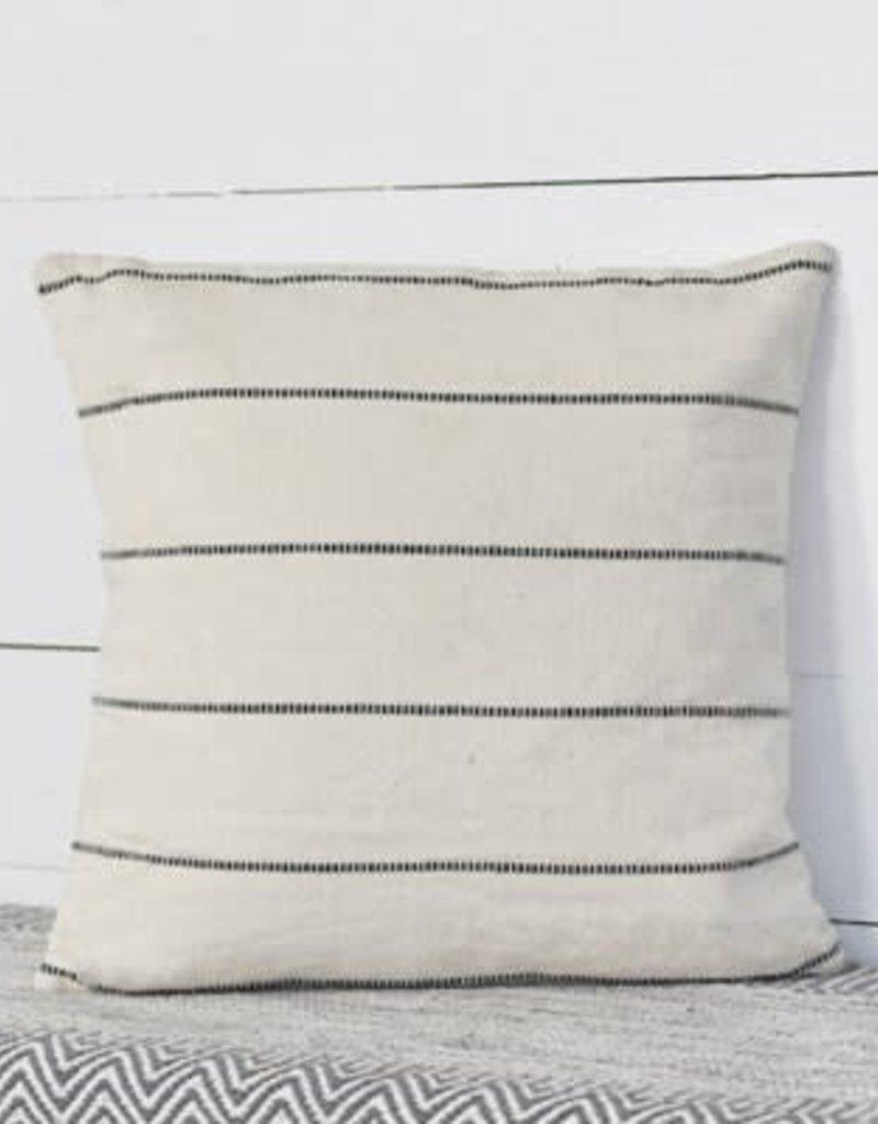 "18"" White w/Black Stripe Pillow"
