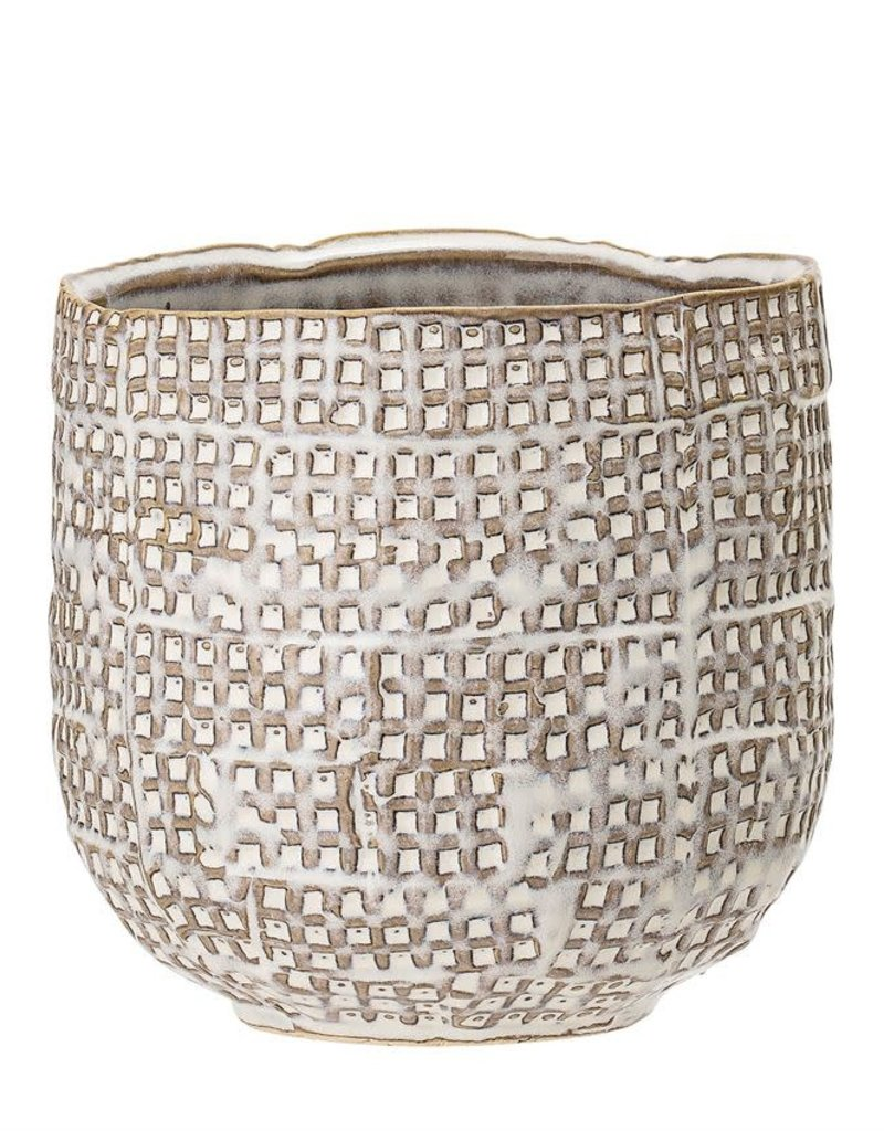 Embossed Stoneware Planter, White Reactive Glaze