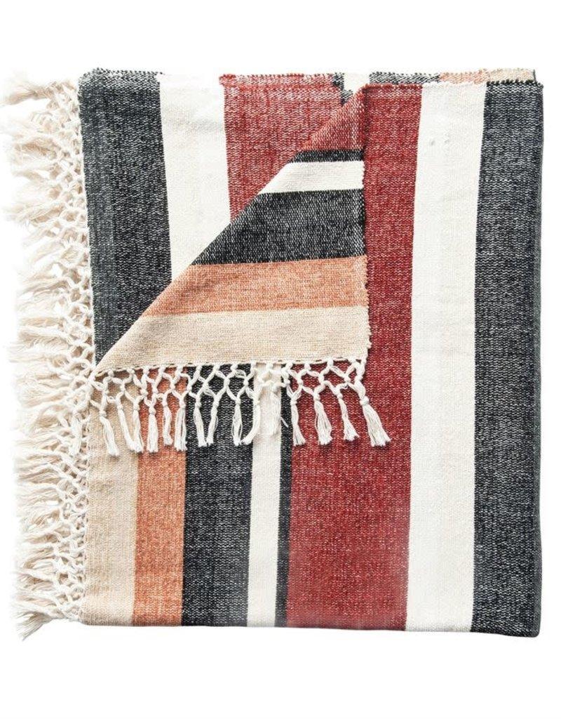 Cotton Blend Throw w/ Stripes & Fringe, Multi-Color