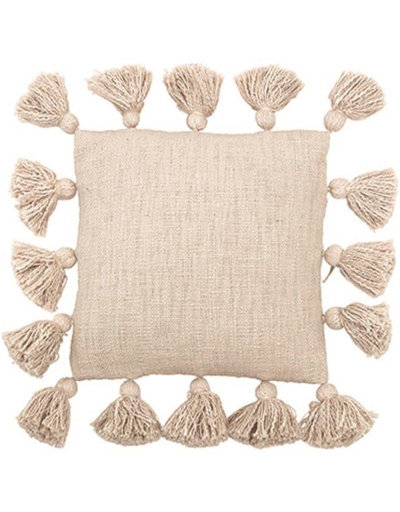 "12"" Square Cotton Pillow, Cream"