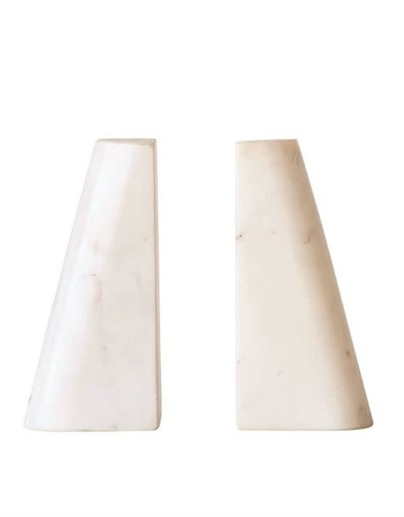 Marble Book Ends, White, S/2