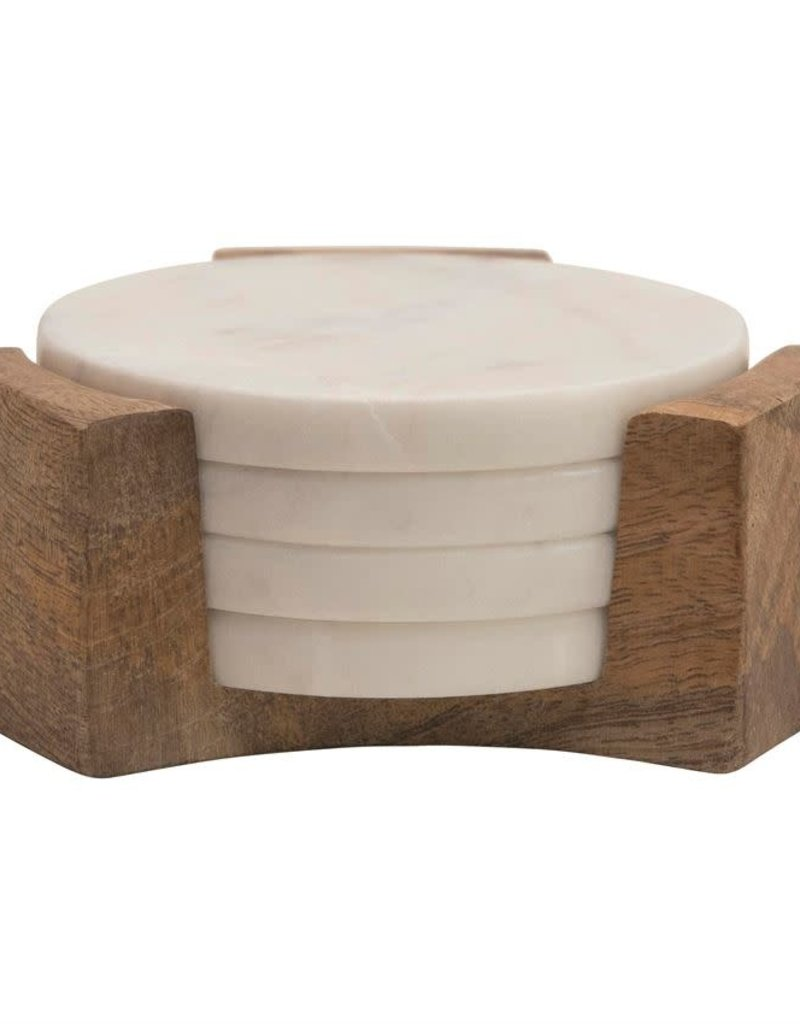 "5""R Marble Coasters w/Mango Wood Holder"