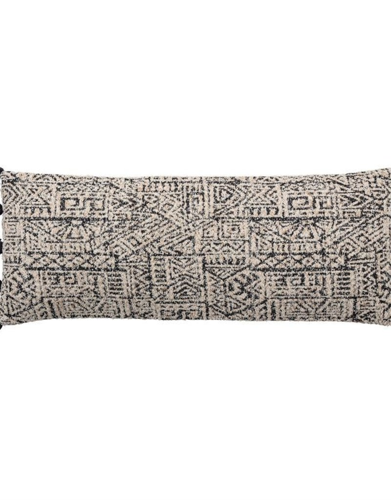 Lumbar Pillow w/ Tassels, Black & Natural