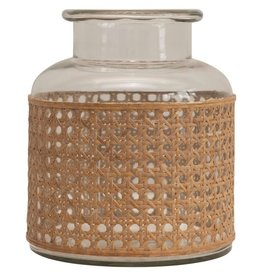 Cane Wrapped Glass Vase