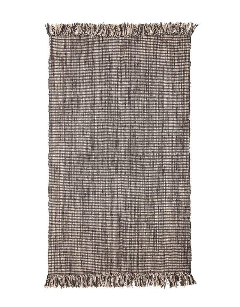 3'x5' Woven Rug, Black and Cream w/Fringe