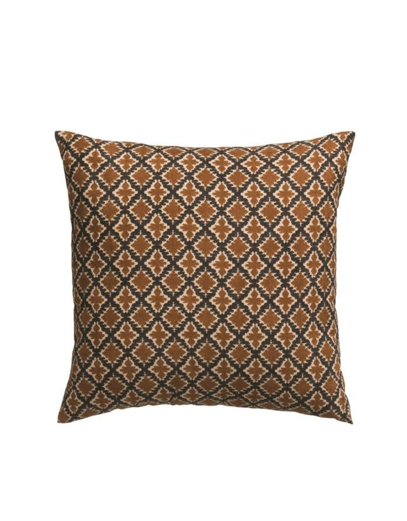 Brown and Navy Printed Pillow