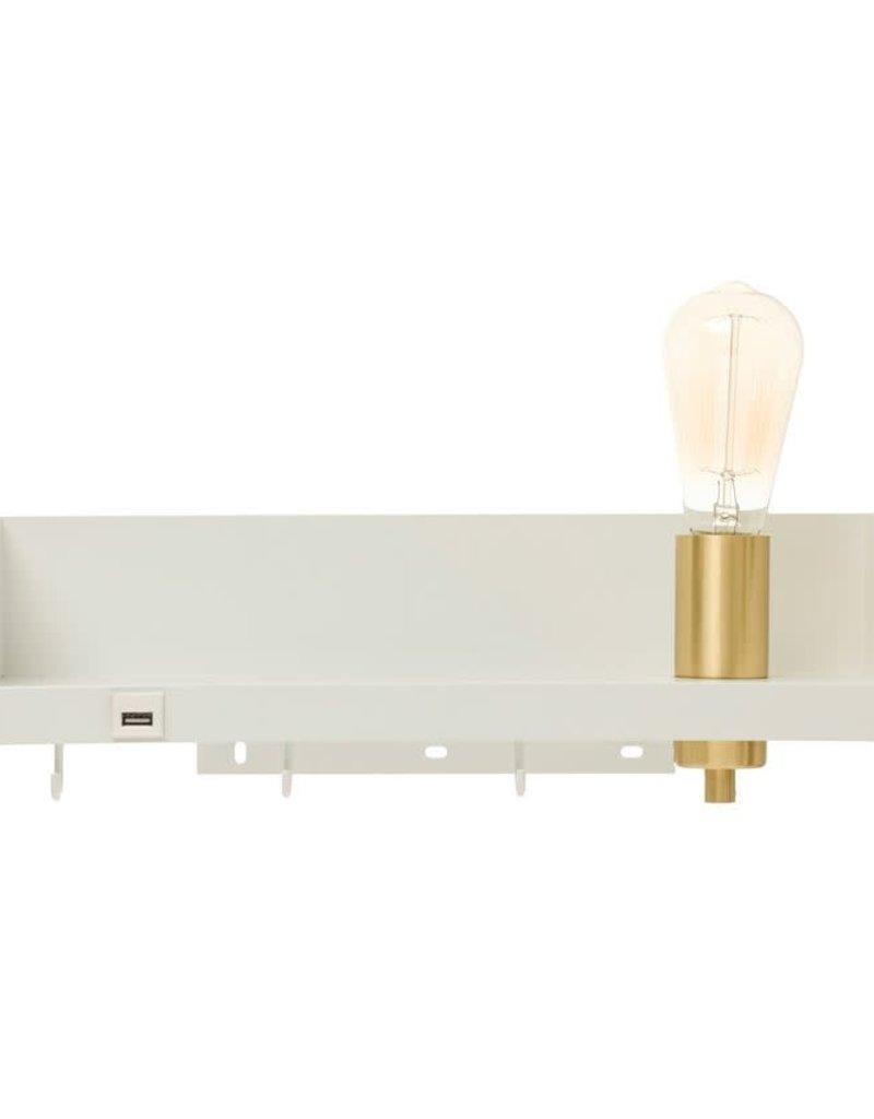 Metal Wall Shelf with Light, USB & 3 Hooks