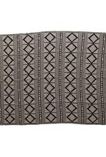 Black and Beige Cotton Throw w/Fringe