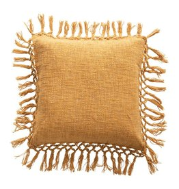 "20"" Square Slub Pillow, Mustard"