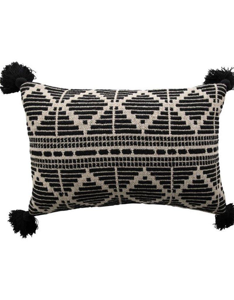 Black and Beige Cotton Lumbar Pillow