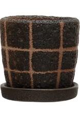 Black Terra Cotta Grid Planter