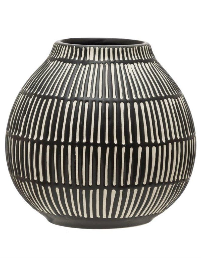 Debossed Stoneware Vase, Black & White