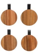 Acacia Wood Coasters w/leather tab