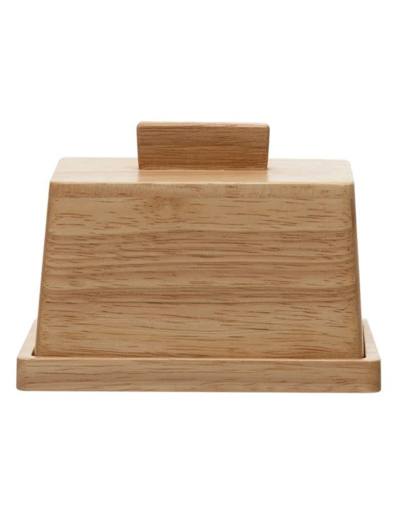 Wood Butter Dish w/Lid