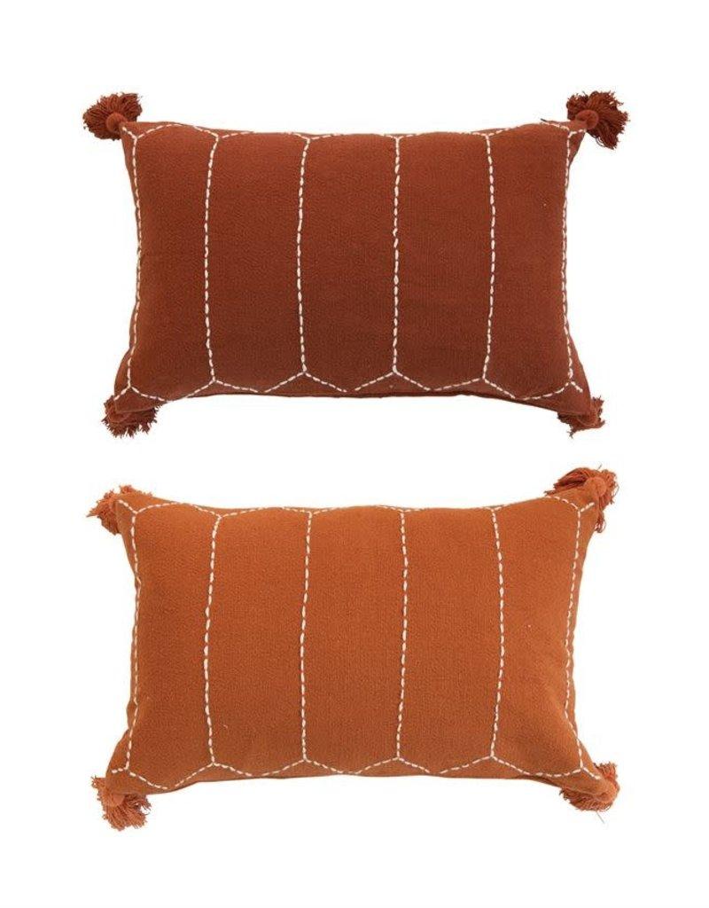 Lumbar Pillow w/Decorative Stitching & Tassels