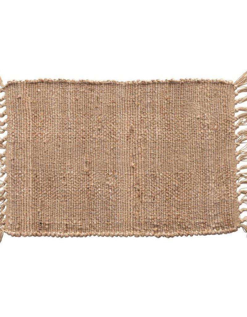 Woven Cotton & Jute Placemat w/ Tassels