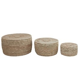 Grass & Date Leaf Baskets w/ Lids