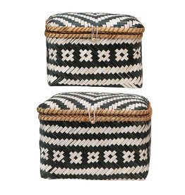 Bamboo Boxes w/ Lids & Closures, Black & White