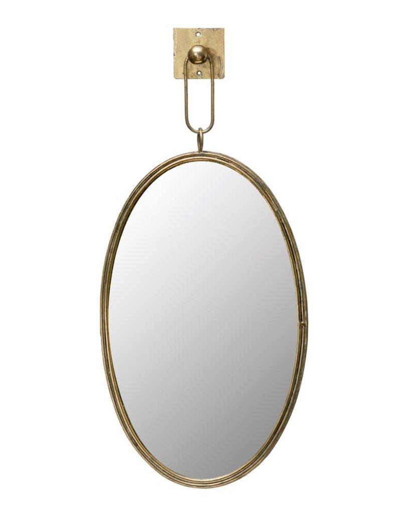 Oval Metal Framed Wall Mirror w/ Bracket