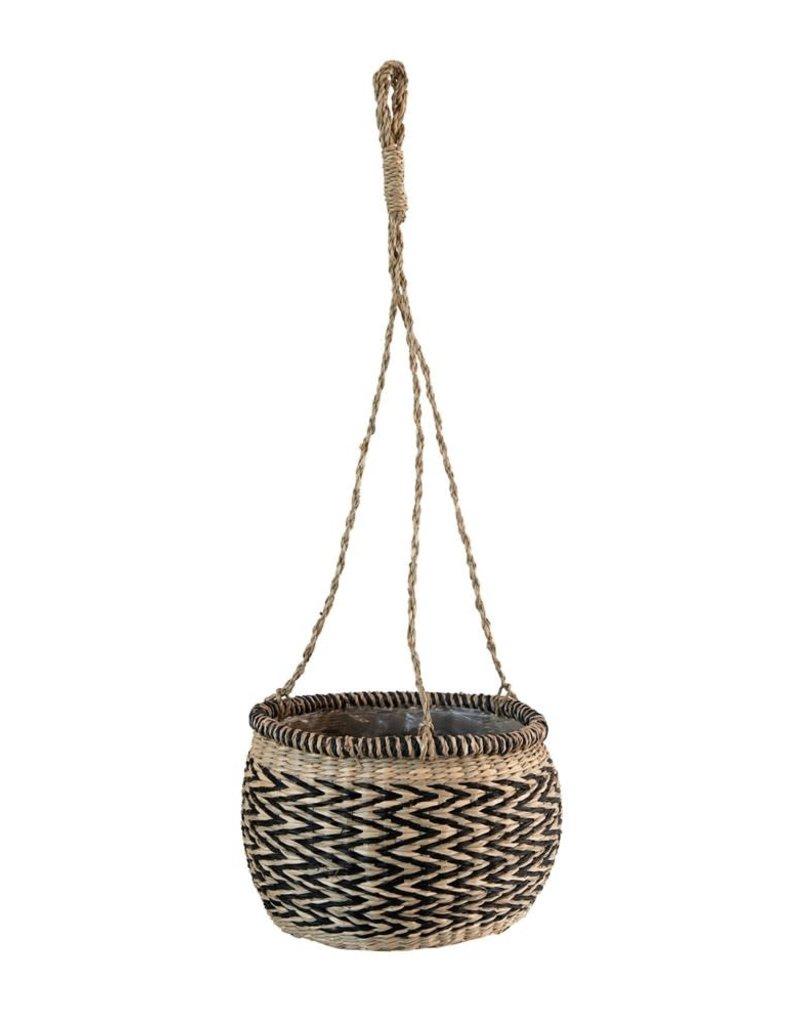 Hanging Seagrass Basket Planter w/ Plastic Lining, Natural & Black