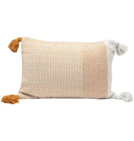 Lumbar Pillow w/ Tassels, Yellow & Cream Color