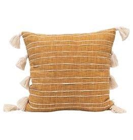 Pillow w/ Appliqued Stripes & Tassels, Mustard