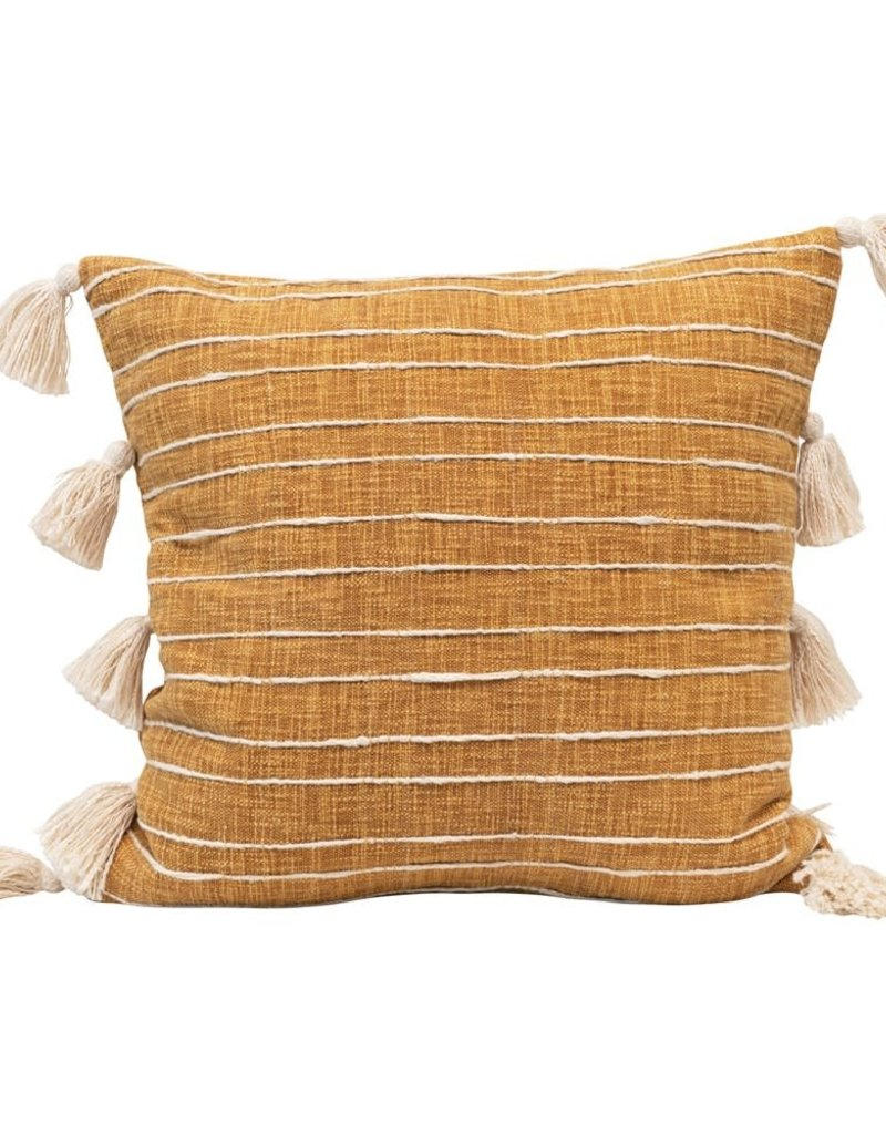 Pillow w/ Appliqued Stripes & Tassels, Mustard