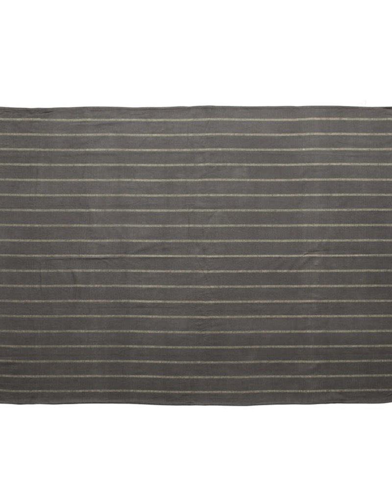 Throw w/ Stripes & Fringe, Blue & Grey