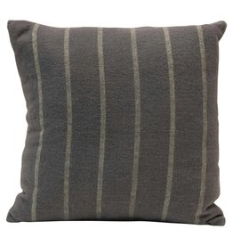 """18"""" Square Brushed Cotton Striped Pillow, Grey & Blue"""