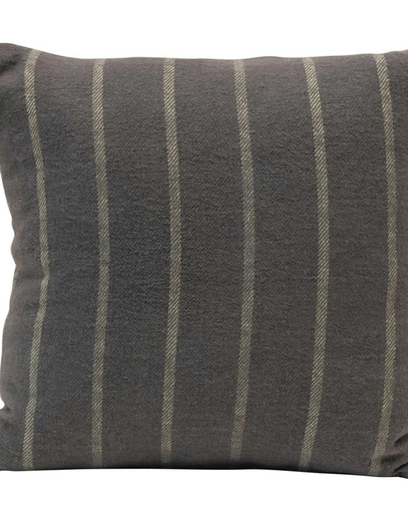 "18"" Square Brushed Cotton Striped Pillow, Grey & Blue"