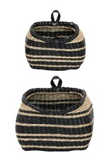 Seagrass Wall Baskets w/ Stripes, Black & Natural