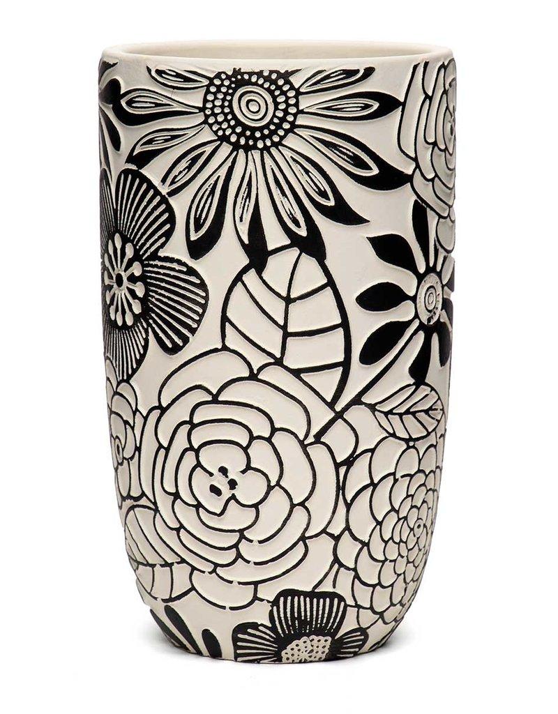 Blk/Wht Floral Vase