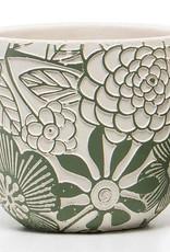 Grn/Wht Floral Terra Cotta