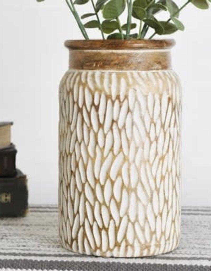 """10.25"""" Carved Wood Jar"""